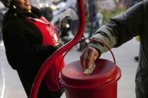 A Salvation Army bell ringer collects donations along Michigan Avenue on Thursday, Nov. 29, 2012. (Brian Cassella/Chicago Tribune) B582550783Z.1 ....OUTSIDE TRIBUNE CO.- NO MAGS, NO SALES, NO INTERNET, NO TV, CHICAGO OUT, NO DIGITAL MANIPULATION...